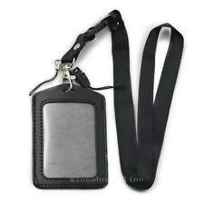One Set Business Vertical ID Card Badge Holder+Neck Strap Lanyard for Reel Black