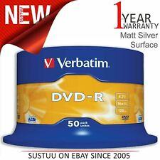 NEW! Verbatim 43548 4.7GB 16x DVD-R Matt Silver - 50pk Spindle 120Min Cake Box