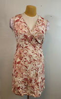 Tommy Bahama Peach Mauve Floral sleeveless Linen silk Blend Tea Dress