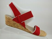 NEW! Coach & Four Gianna Red Textile Slingback Mary Jane Wedge Sandals Womens 8M