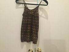 BDG Urban Outfitter Gold/Maroon Design Spaghetti Strap Top Size Small
