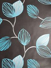 Black Teal Silver Grey Retro Leaf Designer Feature Wallpaper 25782