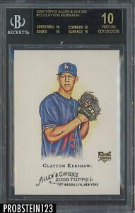 2008 Topps Allen & Ginter Clayton Kershaw Dodgers RC Rookie BGS 10 PRISTINE