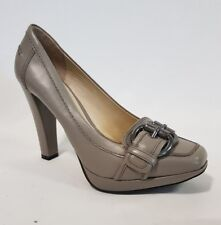 Ladies Shoes Zara Size 39 Or 8 Grey Leather Classic Heels Pumps Like New