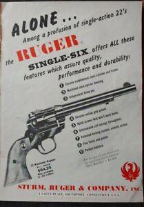 1960 RUGER Single Action .22 Target Pistol, Single-Six Revolver PRINT AD