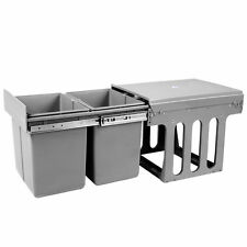 Duel Side Pull Out Rubbish Waste Cafe Kitchen Home Buisness Basket 2 x 15L