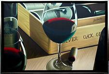 Henri Gautier*1955 Ölmalerei Leinwand 60 x 89 cm Rotwein-Gläser und Weinkiste