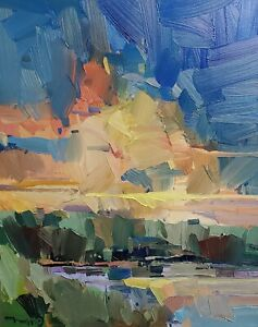 JOSE TRUJILLO Oil Painting IMPRESSIONISM Contemporary COLLECTIBLE 16x20 SKY