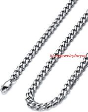 """Fashion Cuban Curb Necklace Womens Men's Silver Polished Stainless Steel 5mm 24"""""""
