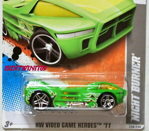 HOT WHEELS 2011 HW VIDEO GAME HEROES NIGHT BURNER #16/22 GREEN W+
