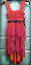 NWT Tween Diva Girls Sz 7 Sparkle Orange Tapered Ruffle Dress - Pageant Easter