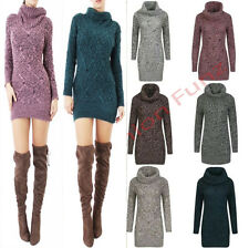 New Womens Ladies Melange cowl POLO NECK Knitted Cable JUMPER Tunic DRESS Top