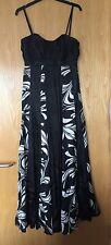 Gorgeous Monsoon Black And White Silk Maxi Party Dress In Size 10