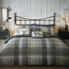 Grey Duvet Covers Tartan Stag Flannelette Brushed Cotton Quilt Cover Bedding Set