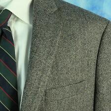 Ralph Lauren Black Label Mens 44L Slim Gray Wool Herringbone Dual Vents Blazer