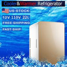 New listing 22L Portable Mini Fridge Freezer 110V/12V Travel Cool Warmer Car Refrigerator