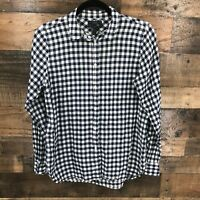 J. Crew Women's Blue & White Gingham Boy Fit Button Up Long Sleeve Shirt Size 4