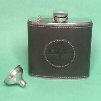 Timberland Flask 6oz Stainless Steel Leather Cover with Funnel New in Box