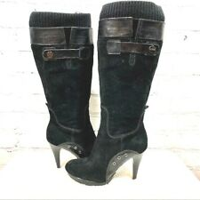 Guess Black Suede Knee High Tall  Heel Boots Women's Size 6