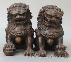 Antique Fengshui Bronze Guardian Fu Foo Dogs Lion Door Leo Statue Lions Pair