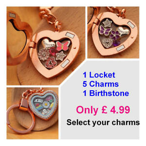 Heart Locket Keyring +Floating Charms -Christmas Gifts, Happy birthday Gift