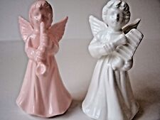 Vintage White & Pink Angels Playing Instruments, Set of 2