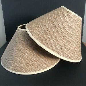 Retro Rattan Hessian Wicker Hardback Lamp Shades x 2 - 70's Style Boho