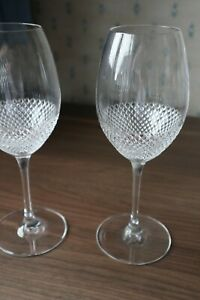 """2 Waterford Crystal """"Lume"""" Wine Glasses by John Rocha Super Condition Signed 9"""""""