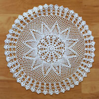 White Vintage Crochet Cotton Lace Doily Round Table Cloth Topper 60cm Pattern