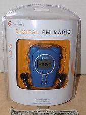 iConcepts Blue FM Digital Radio LCD Clock w/ Alarm & Stereo Headphones NEW