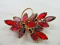 """Beautiful Vintage Pink Red and Purple Crystal Brooch Gold Tone 2.5"""""""