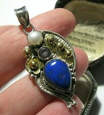 BIG STERLING SILVER VINTAGE STYLE LAPIS LAZULI & REAL PEARL NECKLACE PENDANT