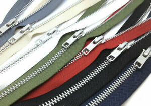 YKK NO.5, 91cm Open Ended Zip, SILVER Metal Teeth, Choose From 36 Tape Colours!