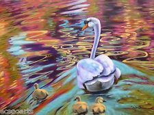 Original Oil Painting 18x24in Swans - Adventure Into The World - Artist 2000-Now