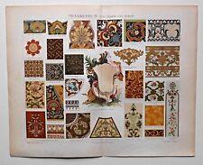 Sammlung Ornamentik, Ornamente - Konvolut von 5 Lithographien 1899