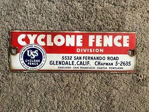"Vintage Original ""USS Cyclone Fence"" porcelain advertising sign"
