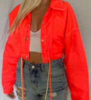 Urban Outfitters Bright Orange Cropped Winbreaker Jacket Slicker Raincoat XS