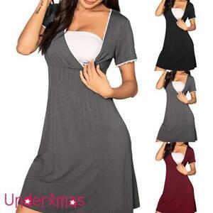 Maternity Pregnant Nursing Dress Womens Lace Nightgown Breastfeeding Dresses UK