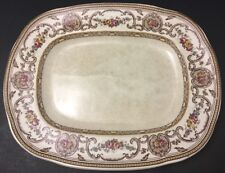 Vintage Wedgwood TRIANON Small Serving Platter~Plate~flowers~brown~pink~England