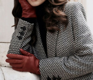 Thinsulate Women's Gloves Soft Leather Garnet Red Insulation 40 Gram Size XL