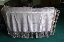 Vintage Striped Piano Shawl TableCloth Scarf Silk ? Fringe Bright Pink