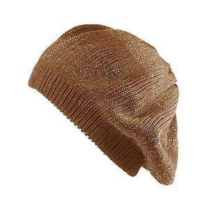Womens Warm Fall Winter Ski Metallic Stripe Knit Beanie Beret Cap Packable Hat