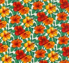 Sunburst Tropical small Hibiscus orange fabric fq 50x56cm F893-3 100% Cotton