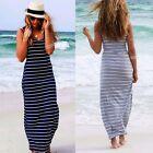 Chic Women Beach Casual Striped Evening Party Long Maxi Dress Plus Size S M L XL