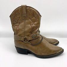 Laredo Cowboy Boots Western Harness Strap Brown Brass Childrens Kids Size 3D