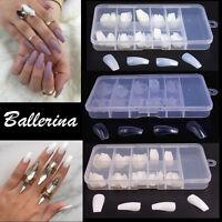 100/600Pcs Make Up False Ballerina Nails Full Cover Nail Art Tips Coffin Shaped