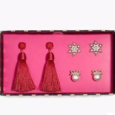 Earrings Gift Box Set! Brilliant Poppy J.Crew Factory Snowflake, Bow And Tassel