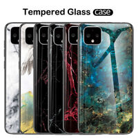For Google Pixel 4 XL 3A XL 3 2 XL Marble Tempered Glass Hybrid Hard Case Cover