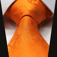 Mens Tangerine Orange Paisley Tie  Wedding Paisley Silk Necktie