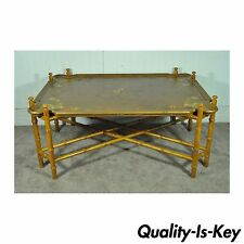 Vintage Baker Hollywood Regency Painted Faux Bamboo X Form Coffee Table
